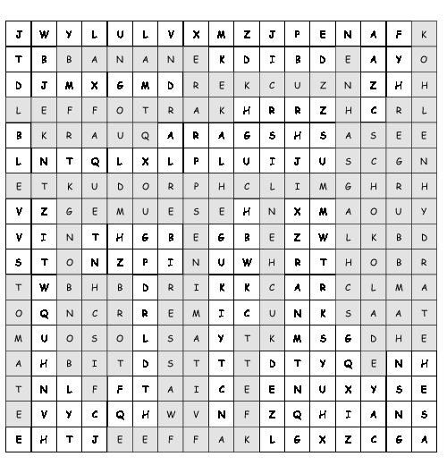 Arbeitsblatt Ernährung Suchsel Mit 19 Versteckten Wörtern