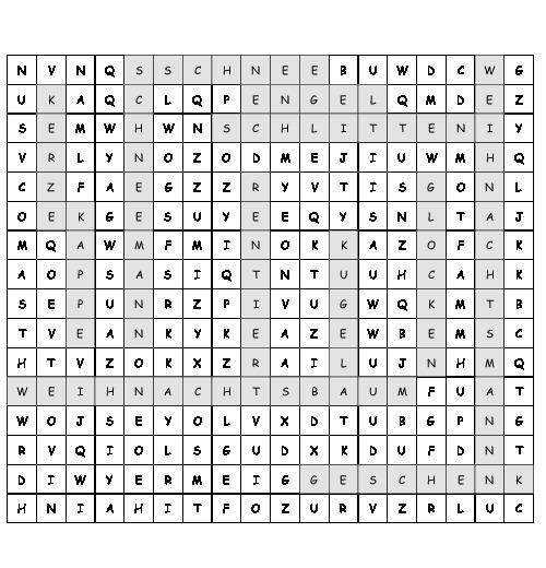 Arbeitsblatt Weihnachten Suchsel Mit 12 Versteckten Wörtern