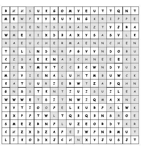 Arbeitsblatt Weihnachtswörter Suchsel Mit 13 Versteckten Wörtern