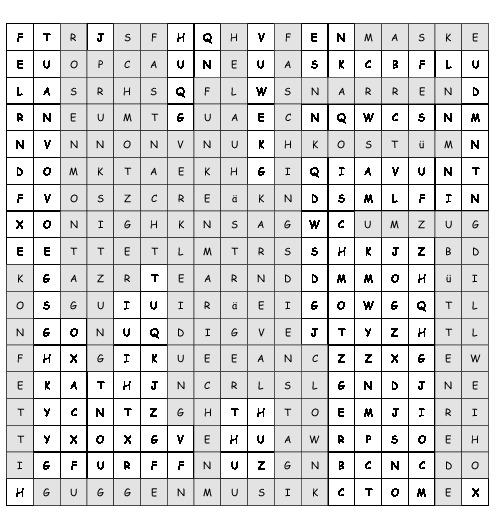 Arbeitsblatt Fasching Suchsel Mit 19 Versteckten Wortern