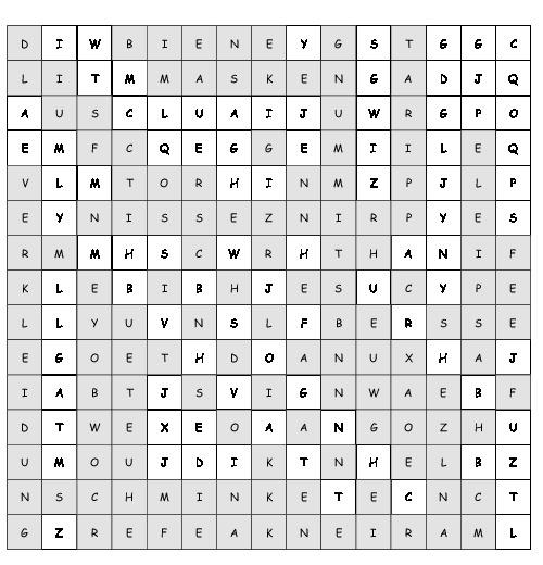 Arbeitsblatt Fasching Suchsel Mit 20 Versteckten Wortern